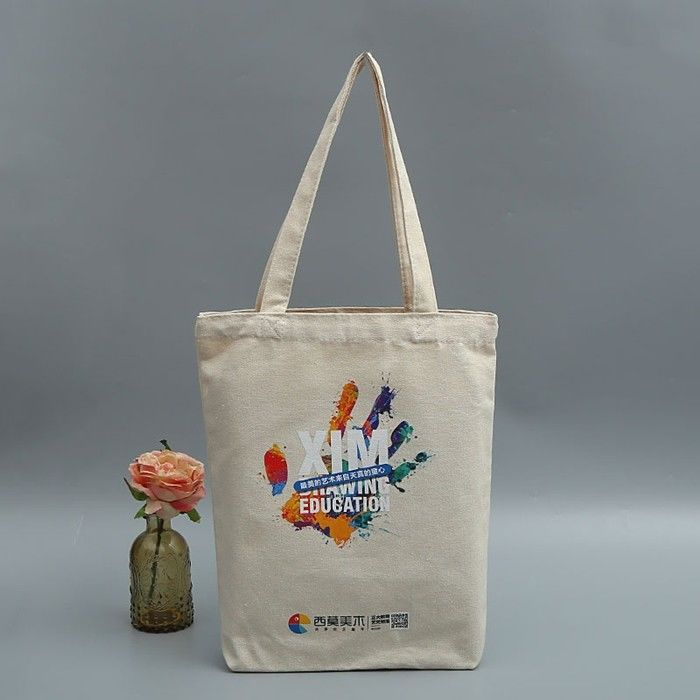 Canvas Printed Reusable Cotton Shopping Bags / Personalised Cotton Bags supplier
